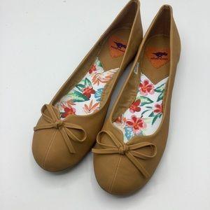 RocketDog Tan Bow Front Ballet Flats